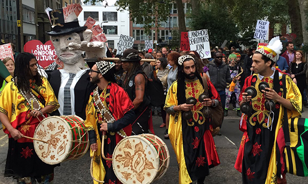 Saturday's march in Dalston. Photograph: Alan D Millier