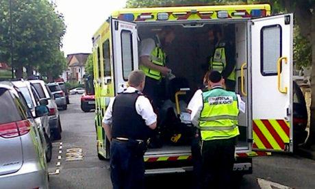 Pregnant woman in Hatzola ambulance