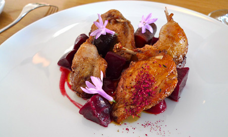 Quail with rose petals (and some beetroot for enhanced redness)