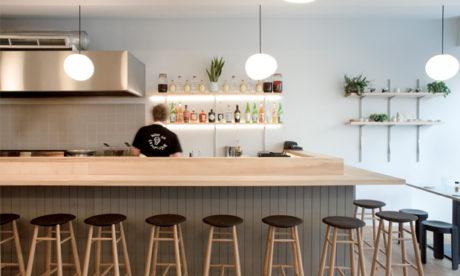 The bar at Jidori. Photograph: Mary Gaudin, Design: Giles Reid Architects